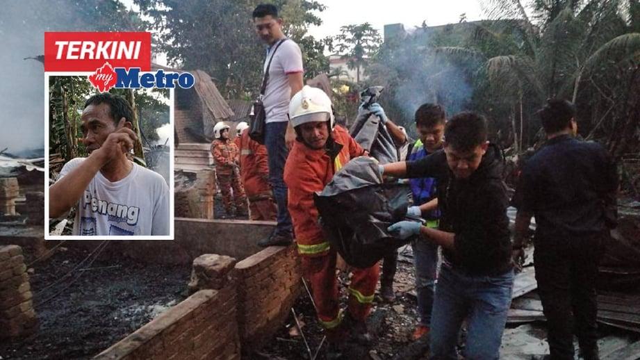 ANGGOTA Bomba membawa keluar mayat mangsa kebakaran. Jamil (gambar kecil) menceritakan detik cemas kebakaran itu yang mengorbankan lima nyawa. FOTO Omar Osman