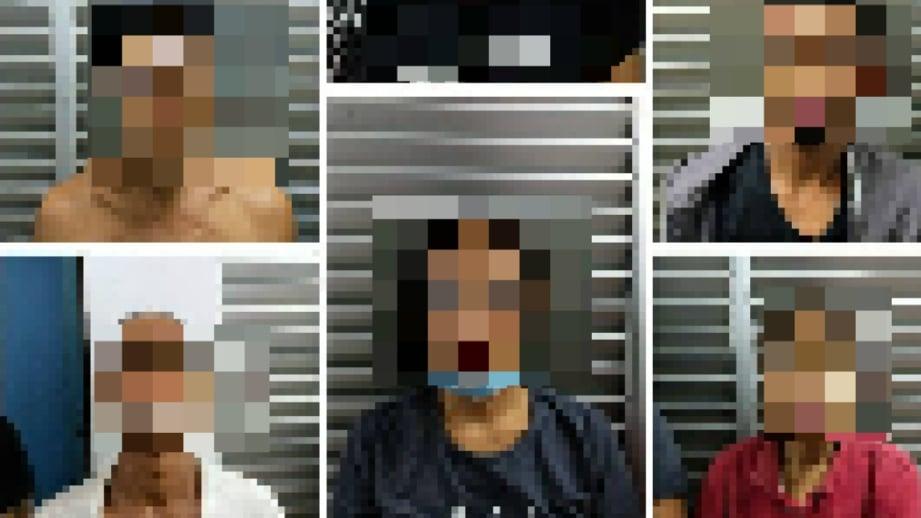 SEBAHAGIAN daripada lapan tokan yang ditahan. FOTO Ihsan PDRM
