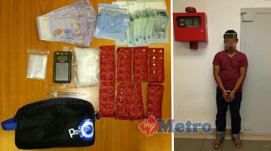 ANTARA barangan yang dirampas daripada suspek (kanan) dalam serbuan di Kampung Titi Kera, Mukim Tobiar, Pendang.Gambar ihsan Polis