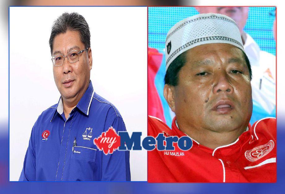 DUA beradik bertanding. (Kiri) Calon BN kerusi DUN Tiram, Datuk Maulizan Bujang dan adiknya (kanan), Mazlan Bujang yang mewakili PKR bagi kerusi DUN Puteri Wangsa.