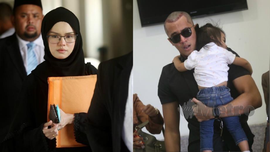 BELLA (kiri) dan Aliff (kanan) selepas prosiding perceraian mereka di Mahkamah Rendah Syariah Wilayah Persekutuan di Kuala Lumpur, hari ini. FOTO Mohamad Shahril Badri Saali