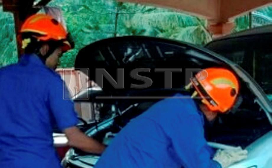 ANGGOTA Angkatan Pertahanan Awam Malaysia (APM) Gua Musang menyelamat seekor anak kucing yang terperangkap dalam enjin kereta di Taman Mesra, Gua Musang. FOTO Ramli Ibrahim