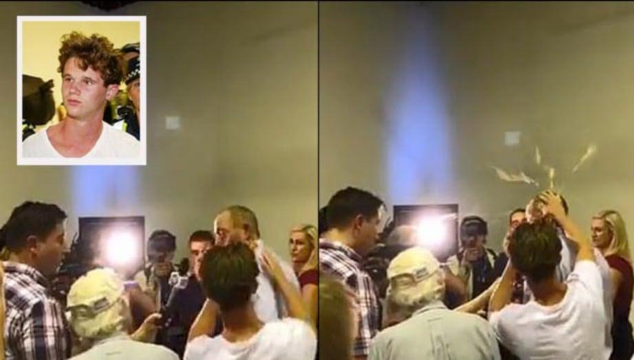 SEORANG lelaki (gambar kecil) memecahkan telur di kepala Fraser Anning yang mencetuskan kemarahan selepas menuduh kehadiran orang Islam sebagai punca serangan pengganas di dua masjid di Christchurch. FOTO Agensi