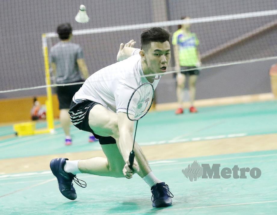 LEE Zii Jia ketika latihan persiapan ke Piala Dunia di Basel Swizerland di Akademi Badminton Malaysia, Bukit Kiara.
