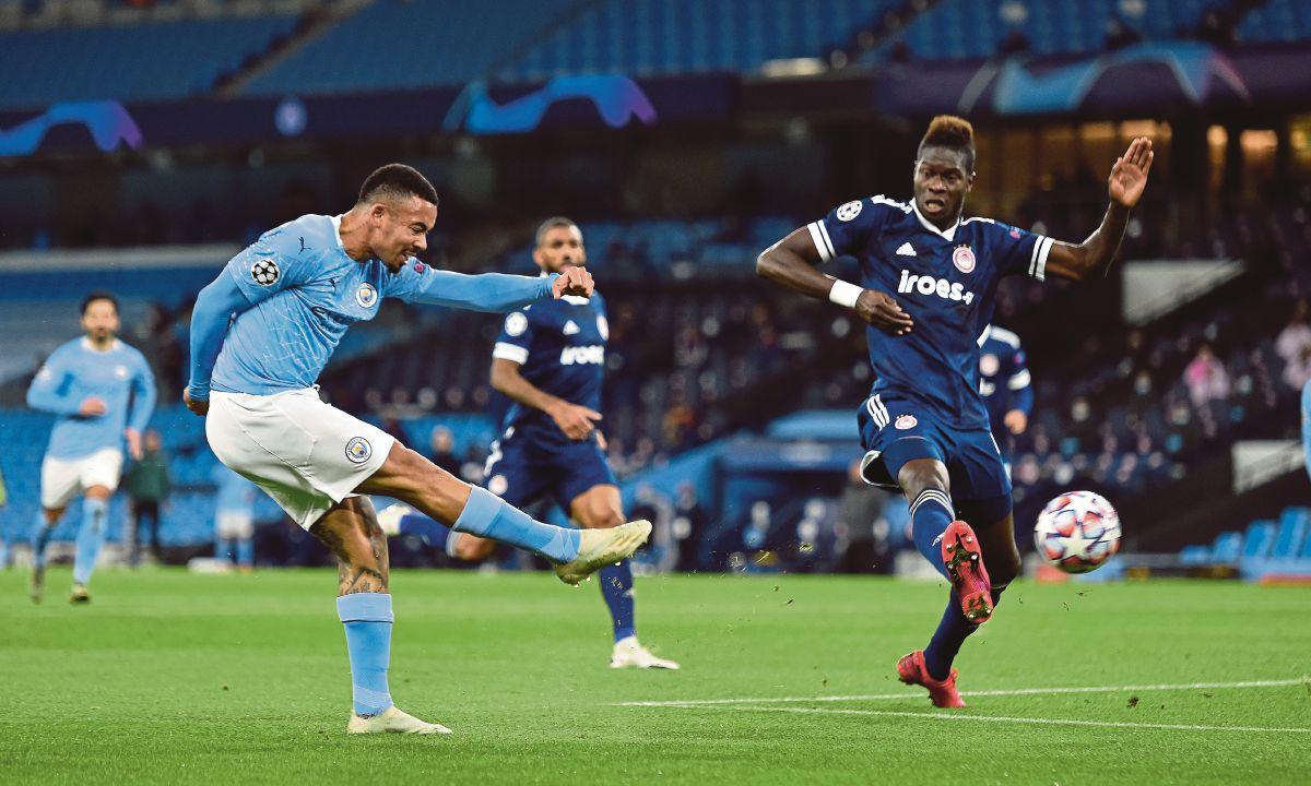 AKSI Jesus meledak gol ketiga City. FOTO AFP