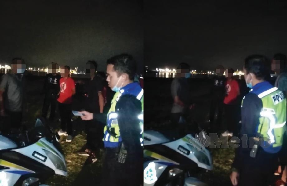 Polis mengadakan pemeriksaan ke atas 11 individu yang didapati berhimpun dan melepak sambil menikmati pemandangan laut di Lebuhraya Lingkaran Luar Butterworth. FOTO Ihsan PDRM