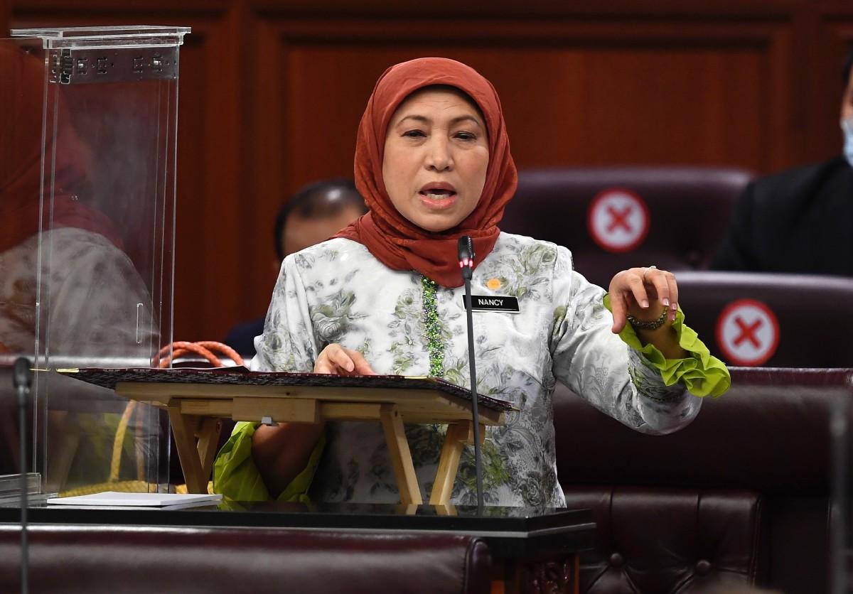 NANCY ketika Persidangan Dewan Negara di Parlimen. FOTO Bernama