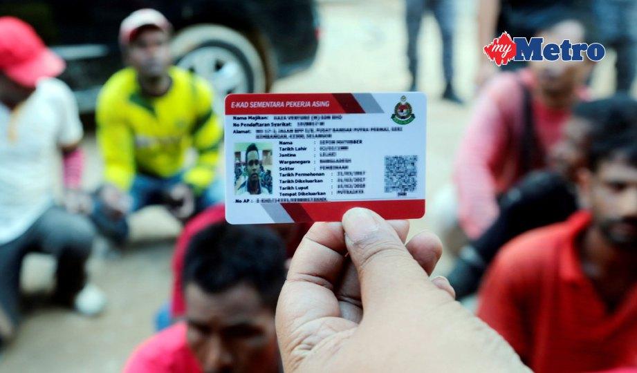 ANGGOTA Jabatan Imigresen Malaysia (JIM) Pahang memeriksa kad sementara atau Enforcement Card (E-Kad). FOTO Zulkepli Osman