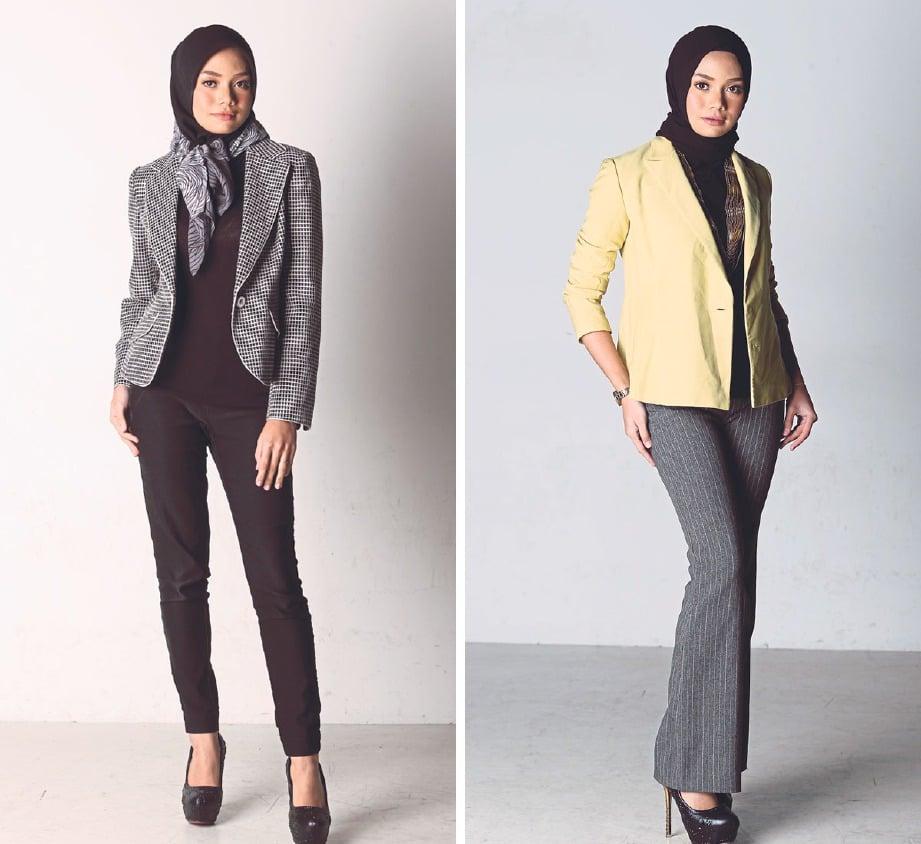 KEMAS ketika menghadiri mesyuarat. Gambar kanan: Jaket kuning untuk gaya ke pejabat.