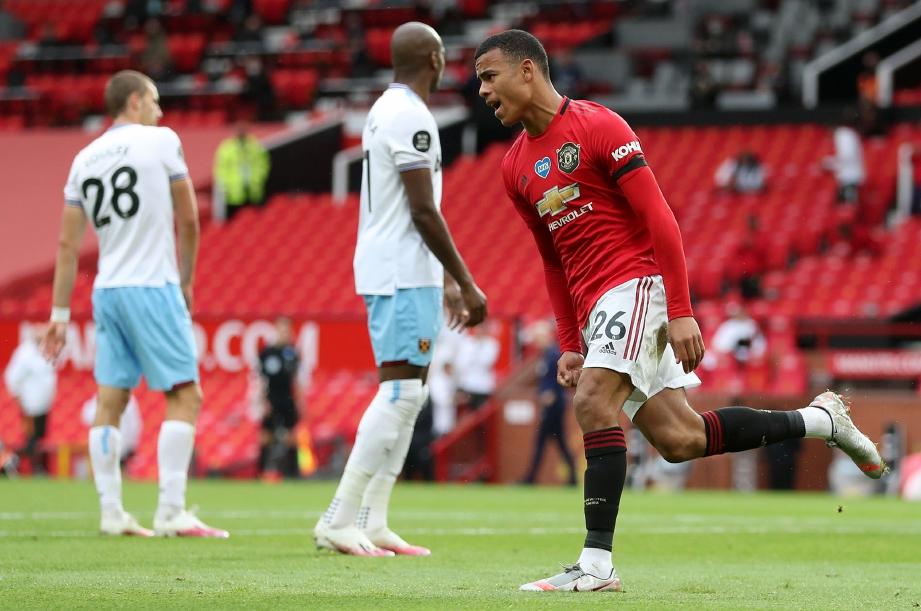 GAYA Greenwood selepas menjaringkan gol United di Old Tarfford. FOTO AFP