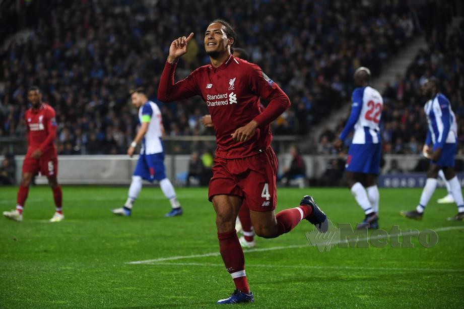 Pemain pertahanan Liverpool, Virgil van Dijk. FOTO AFP