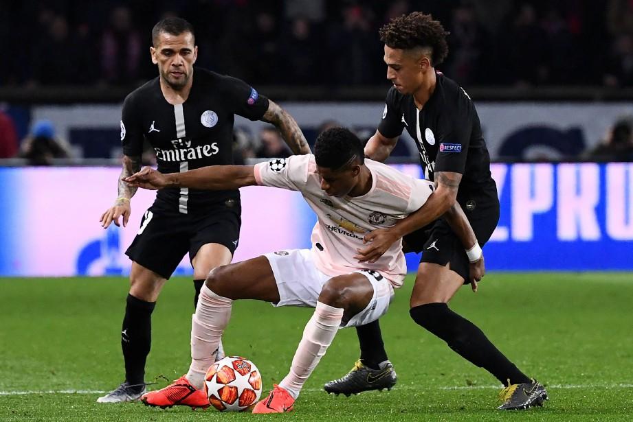 MARCUS Rashford beraksi ketika Manchester United menentang Paris Saint-Germain di Parc des Princes. FOTO AFP