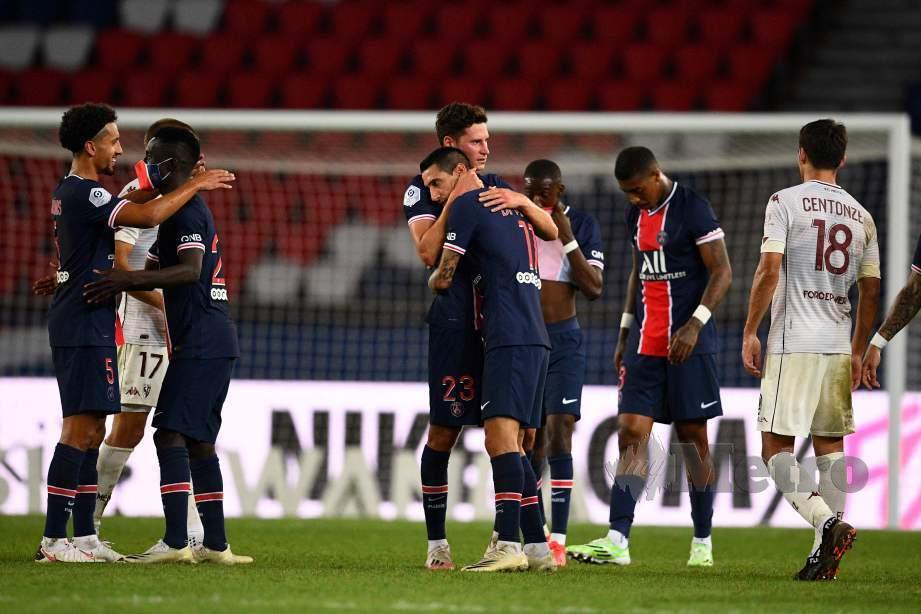 PSG melakarkan kemenangan pertama. FOTO AFP