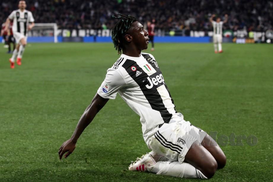 GAYA Kean selepas menjaringkan gol kemenangan Juve di Turin. - FOTO AFP