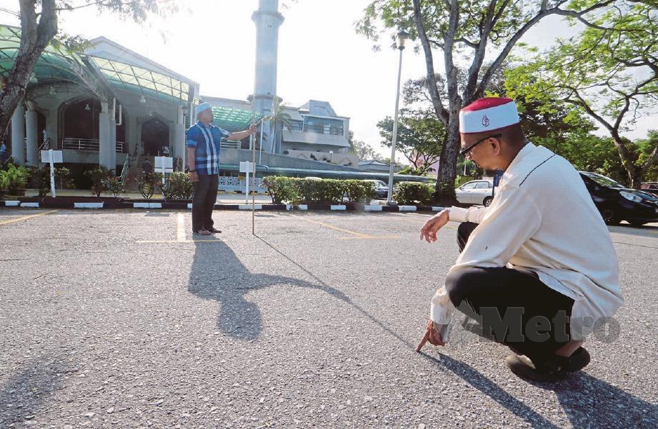 SEMAKAN arah kiblat harus berdasarkan bayang pada jam 5.16 petang (waktu tempatan) yang bersamaan jam 12.16 tengah hari di Masjidilharam. FOTO Eizairi Shamsudin