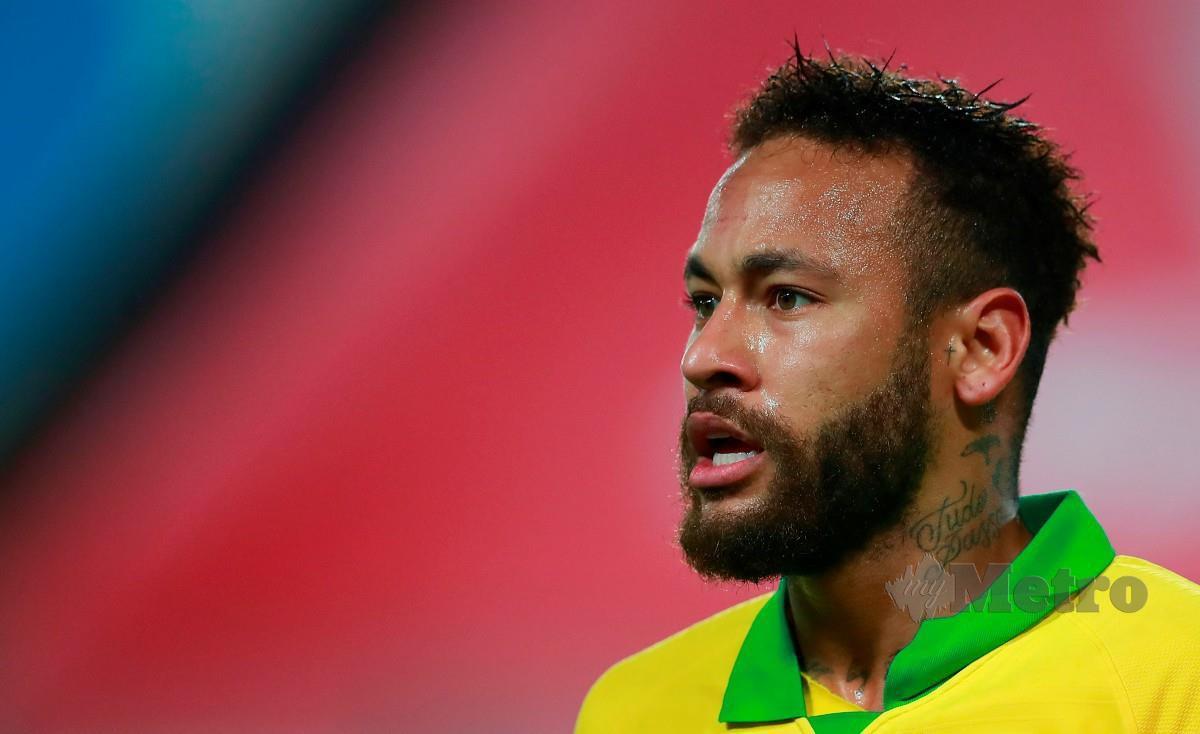 NEYMAR berharap dapat membantu Brazil pada perlawanan kedua menentang Uruguay. FOTO AFP