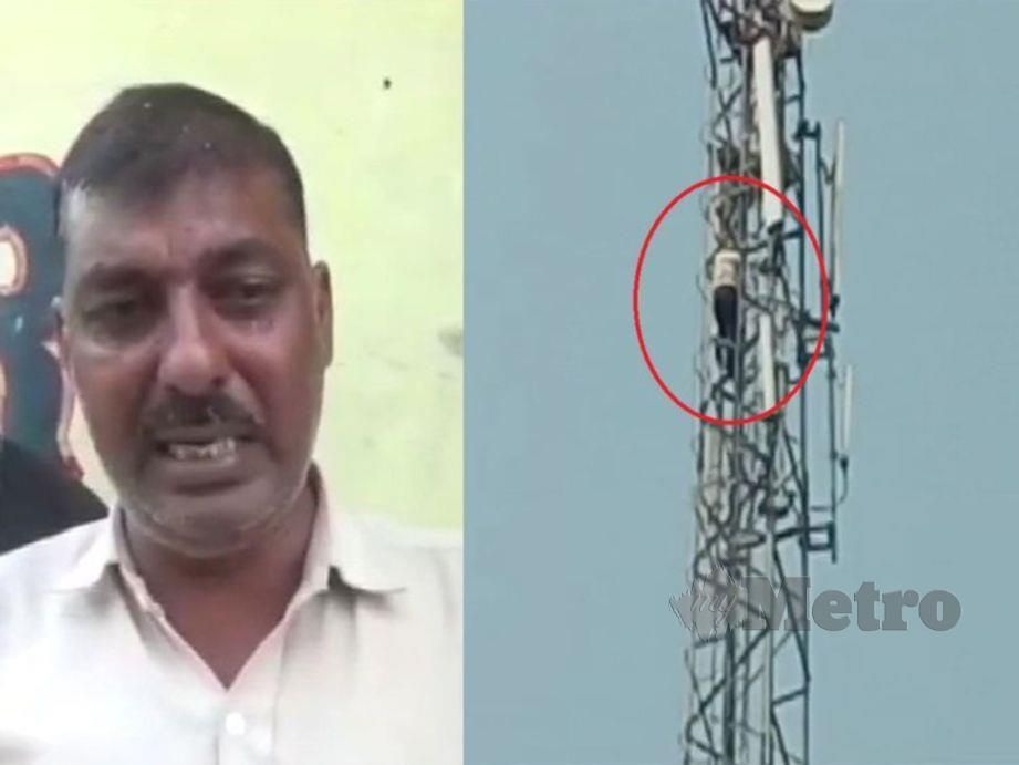 TEJPAL Singh (kiri), manakala gambar kanan aksi gilanya memanjat menara pencawang telekomunikasi keran bengang selepas bergaduh dengan isterinya. FOTO Agensi.
