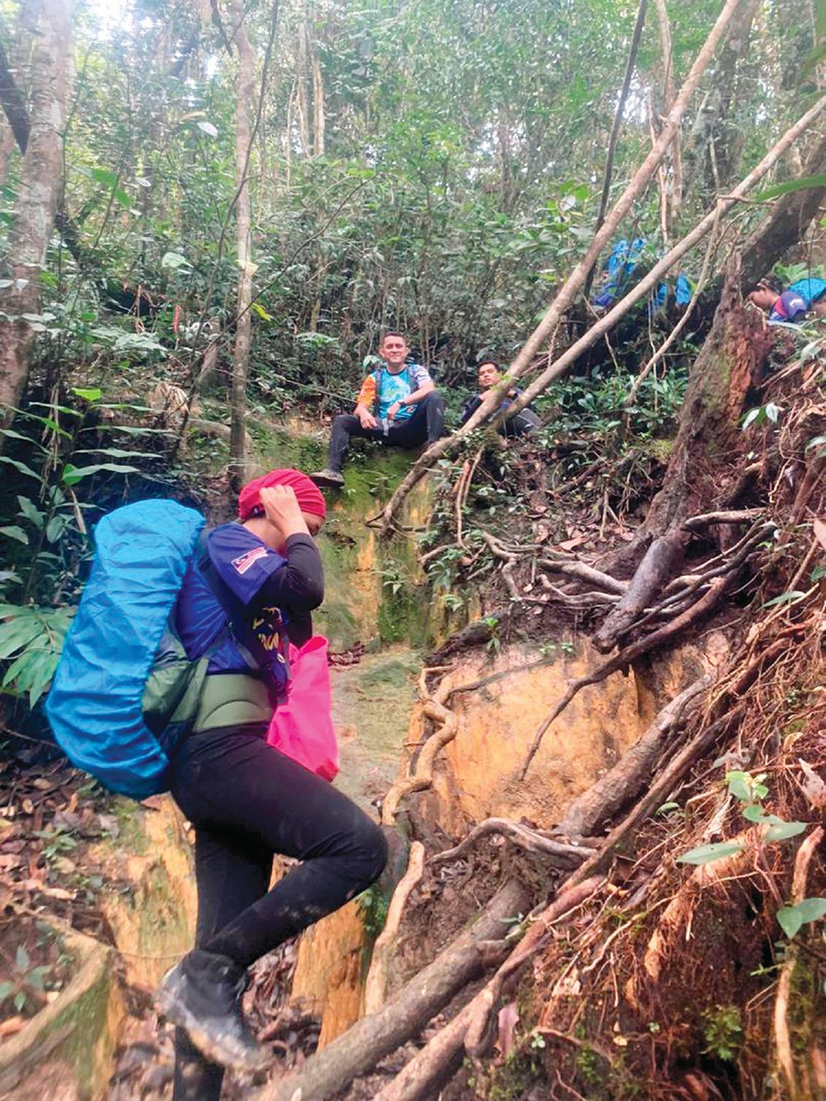 AKAR kayu menjadi tempat berpegang untuk memanjat dan menuruni tebing.
