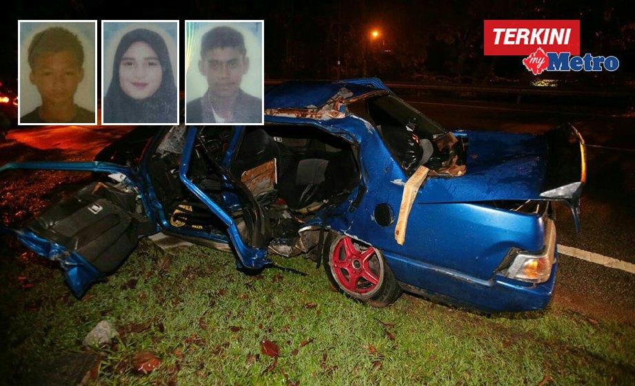 (Dari kiri) Muhammad Haziq, Nur Syarifah Azura dan Herman meninggal dunia selepas kereta dinaiki terbabit kemalangan dengan tiga kenderaan. FOTO Muhammad Zuhairi Zuber