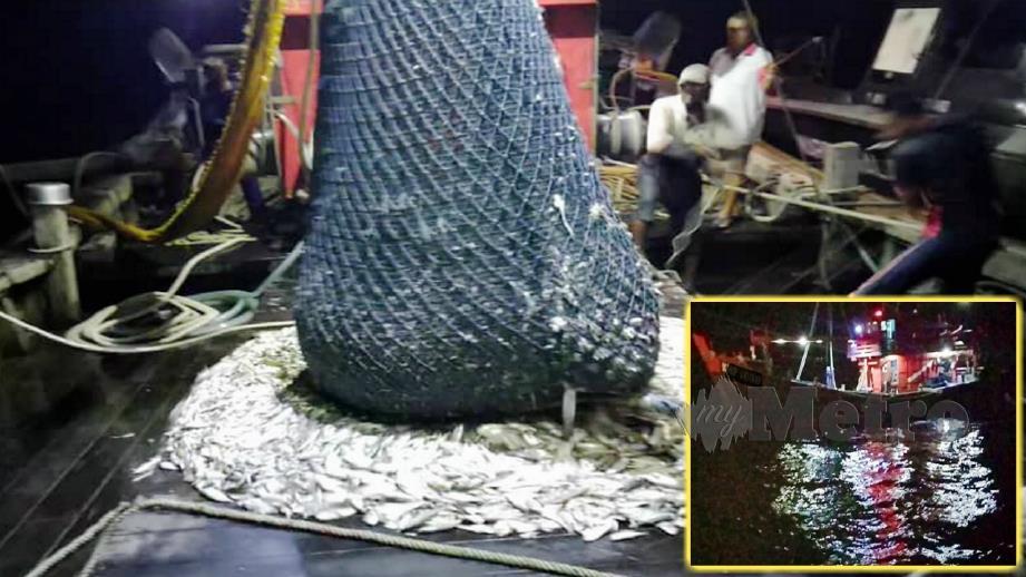 BOT pukat tunda kelas C ditahan Maritim Malaysia atas kesalahan menangkap ikan di luar kawasan yang dibenarkan. FOTO Ihsan Maritim