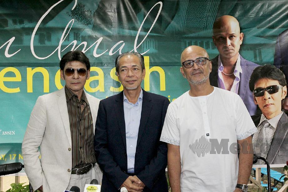 YANG di-Pertua Persatuan Pengasih Malaysia, Ramli Abd Samad (tengah) bersama penyanyi, Datuk Jamal (kiri) serta Man Bai. FOTO Mahzir Mat Isa