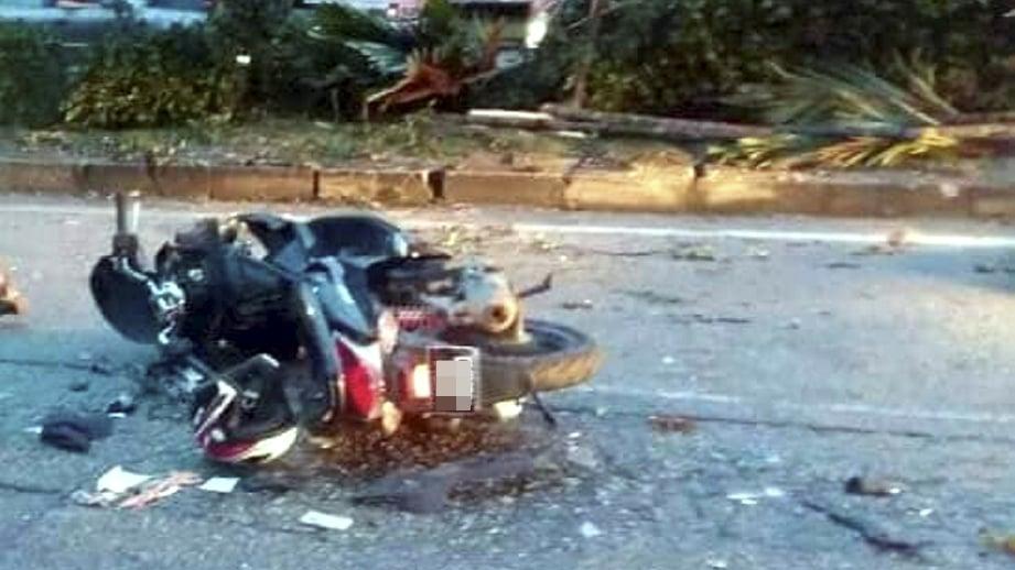 KEADAAN motosikal dinaiki mangsa.