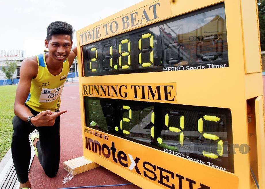 AZEEM catat rekod baharu kejohanan dalam acara 200 meter. - FOTO  Syarafiq Abd Samad