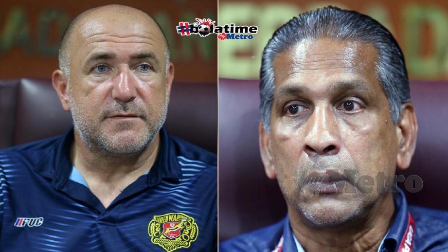 Kraljevic (kiri) akui sangat kecewa selepas skuadnya tunduk kepada Red Giants kendalian Sathianathan. FOTO NSTP