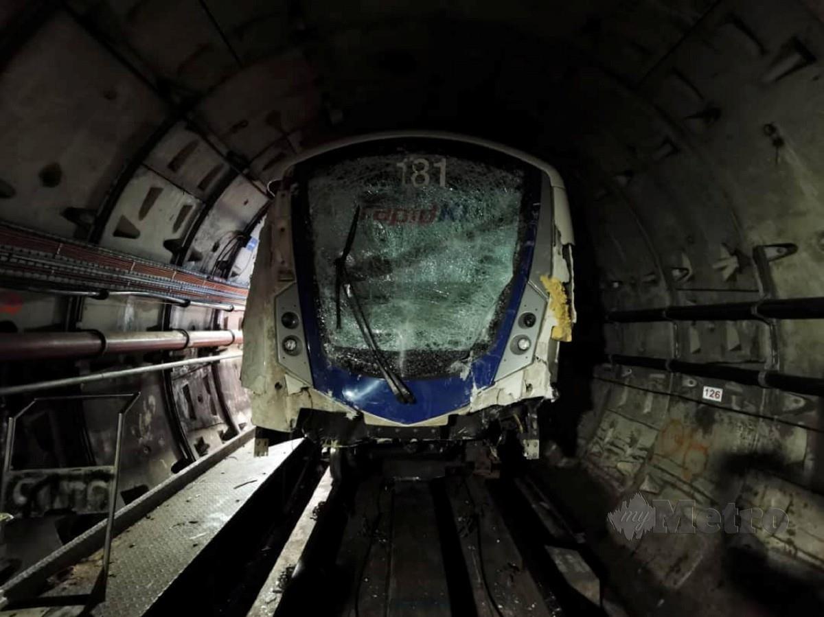 TREN LRT yang terbabit dalam kemalangan, gambar fail. FOTO Ihsan Facebook Dr WEE KA SIONG