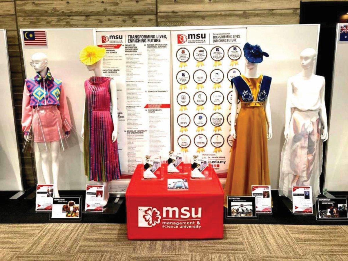 EMPAT busana rekaan pelajar MSU yang terpilih untuk dipamerkan.