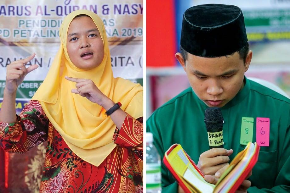 PESERTA pertandingan syarahan, Nur Allysa Ghazali, 17, menggunakan bahasa isyarat. Gambar kanan: Peserta tilawah Al-Quran, Muhammad Irfan Mohd Hezri. FOTO Aziah Azmee