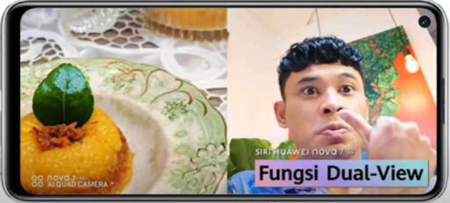 PENGGEMAR makanan boleh merakam gambar makanan dan reaksi mereka secara serentak dengan menggunakan Siri HUAWEI nova 7 yang baharu.