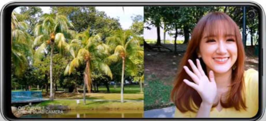 YBB merakam vlog menggunakan Fungsi Dual-View.