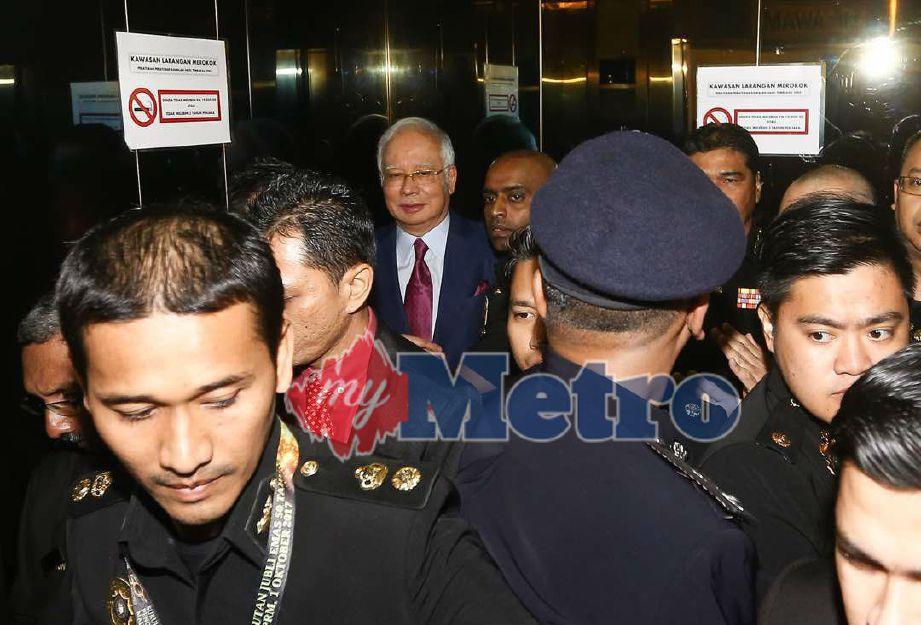 Najib tiba di Mahkamah Kuala Lumpur. FOTO NSTP