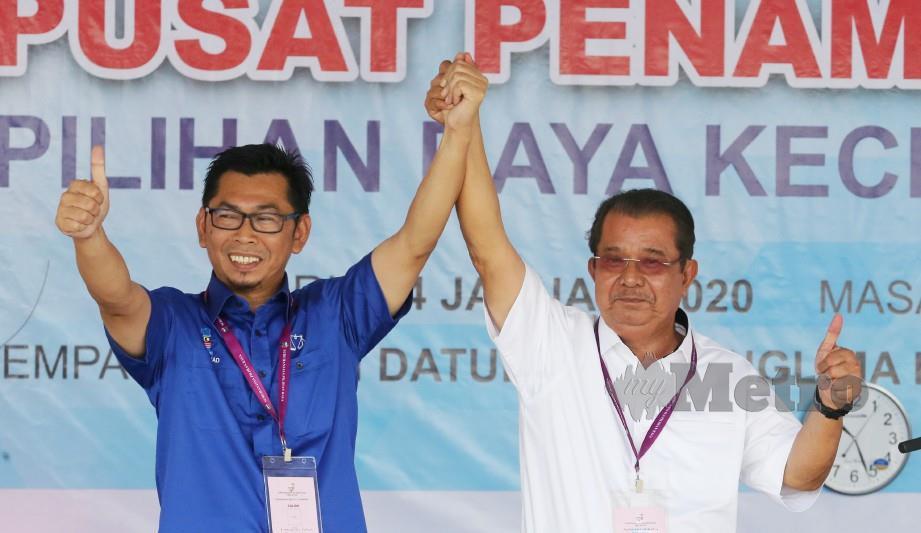 CALON BN, Datuk Mohamad Alamin (kiri) bersama calon Parti Warisan, Datuk Karim Bujang. FOTO arkib NSTP