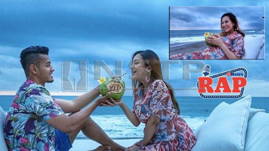 Mawar menikmati air kelapa bersama suami di Bali. FOTO IG Mawar Rashid dan Raf Yaakob