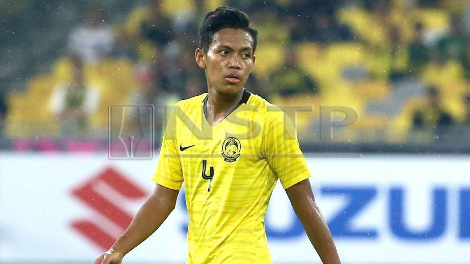 MUHAMMAD Syahmi pada perlawanan kumpulan Piala AFF 2018, bulan lalu. FOTO Mohd Khairul Helmy Mohd Din
