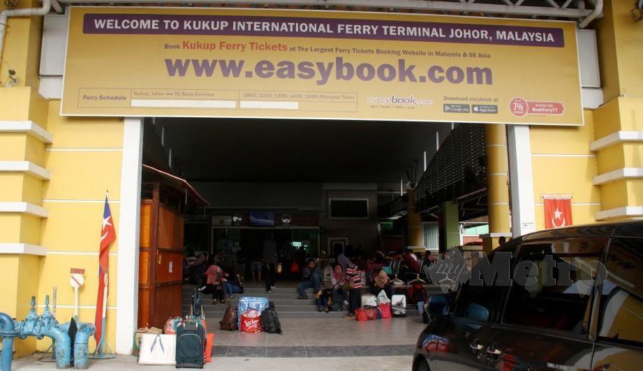 Operasi Terminal Feri Antarabangsa Kukup di Pontian akan dihentikan buat sementara waktu bermula 1 September ini. Foto Arkib NSTP