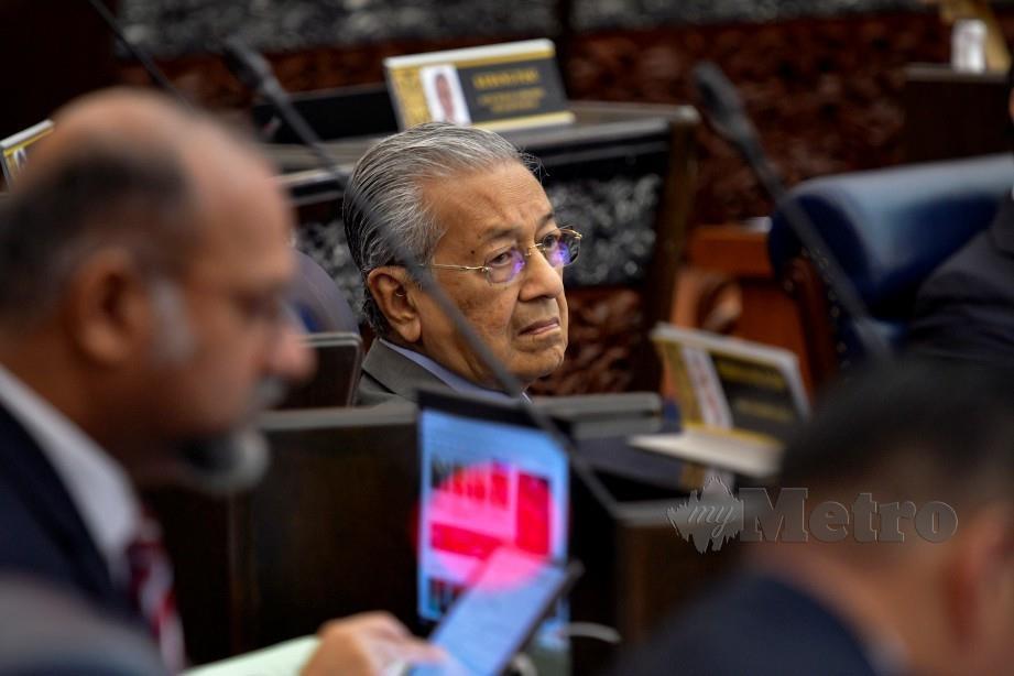 DR Mahathir pada hari pertama Persidangan Mesyuarat Kedua Penggal Ketiga, Parlimen Ke-14 di Bangunan Parlimen hari ini. FOTO Bernama