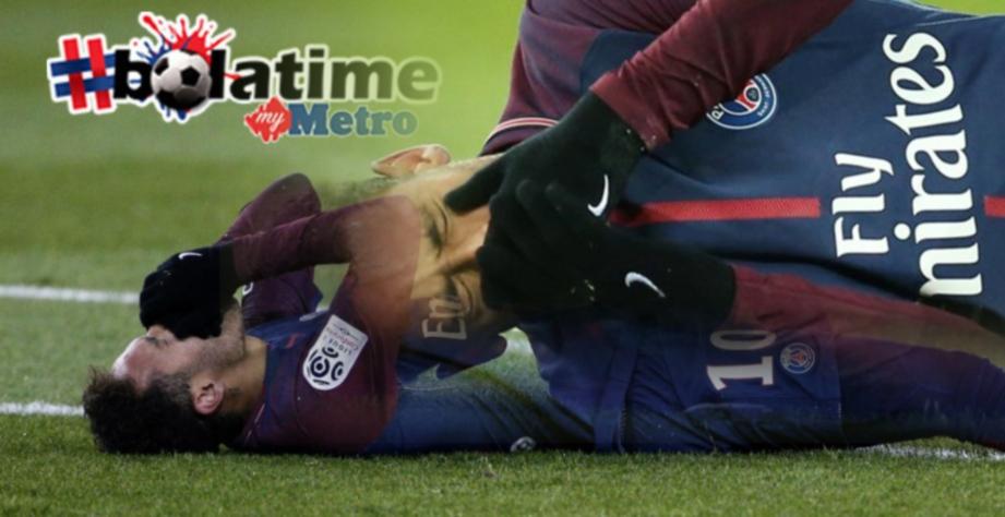 NEYMAR mengalami kecederaan buku lali dan retak tulang metatarsus. FOTO/AFP