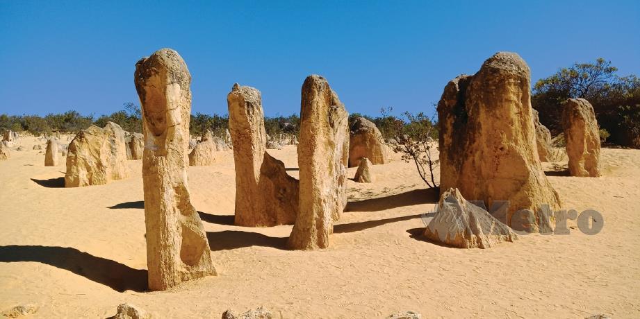 BATU-batan berwarna kuning seperti melihat stalaktit atau stalagmit di dalam gua yang diterbalikkan di Pinnacles.