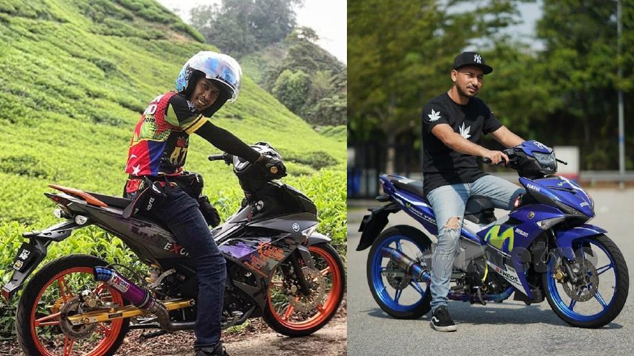 ACHEY (kiri) dan Zizan (kanan) antara artis yang mengubahsuai motosikal Y15ZR atau Ysuku mereka. FOTO Instagram Achey dan Zizan