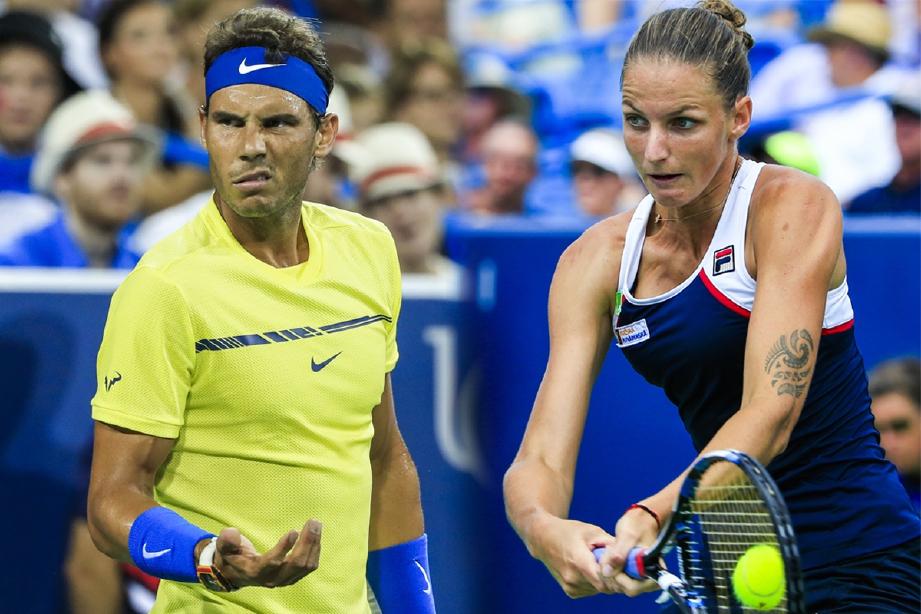 NADAL (kiri) buru kejuaraan ketiga Terbuka AS manakala Karolina mahu tebus kekecewaan tahun lalu. -Foto Agensi