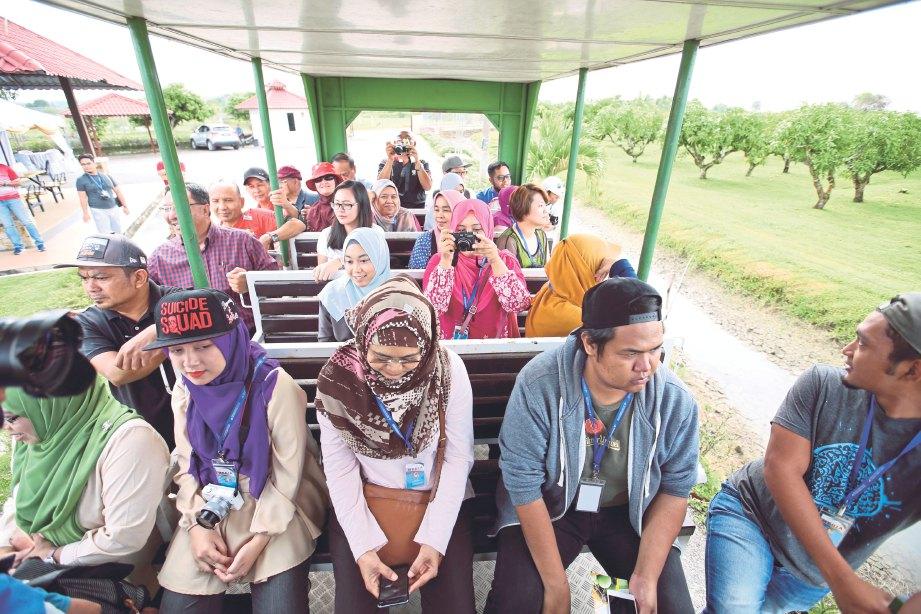 ROMBONGAN menaiki tram melawat ladang mempelam Tobiar MADA.