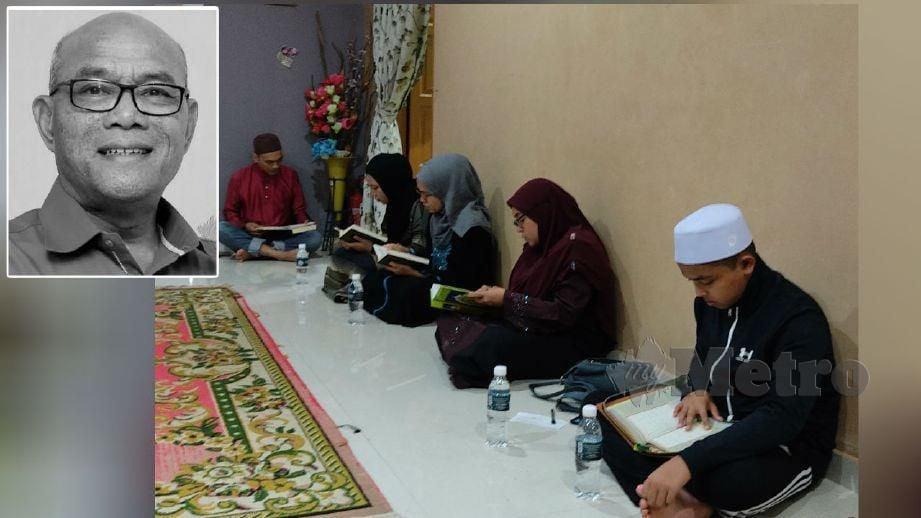 AHLI keluarga membaca al-Quran ketika menunggu ketibaan jenazah. (Gambar kecil) Allahyarham Mohd Khusairi. FOTO Rosman Shamsudin