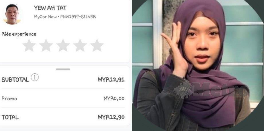 Siti Nur Hanini (kanan) bersyukur ditemukan dengan Ah Tat yang memberi tambang percuma selain membelikannya makanan.
