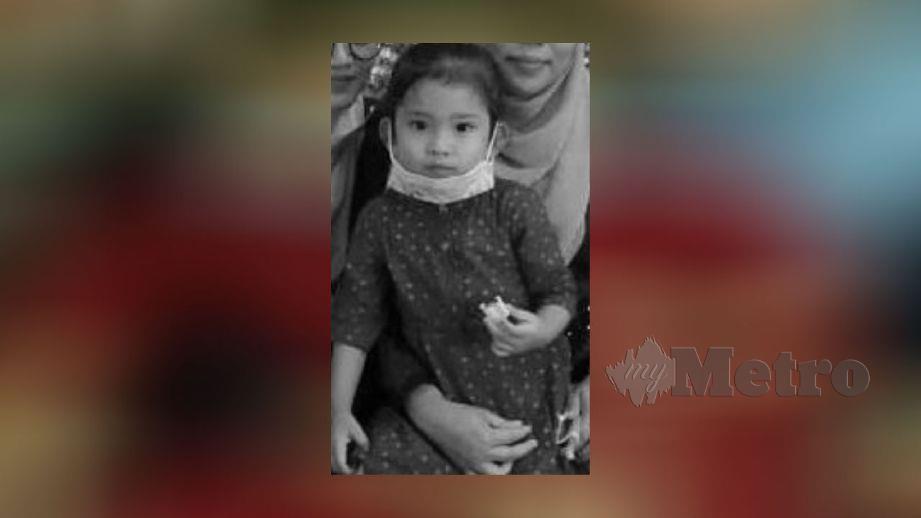 ALLAHYARHAM Aina Batrisha Aisyah yang meninggal dunia selepas ditinggalkan dalam kereta bapanya di tempat kerja, semalam. FOTO ihsan pembaca