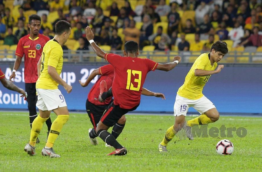 KEMENANGAN 7-1 dan 5-1 ke atas Timor Leste banyak membantu peningkatan ranking Harimau Malaya. — FOTO Aziah Azmee