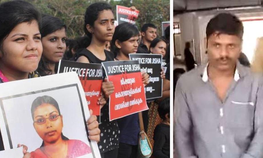 Bantahan rakyat India terhadap pembunuhan kejam Jisha yang dirogol tahun lalu, oleh Muhammed Ameerul Islam (kanan). - Foto Agensi (Fail)