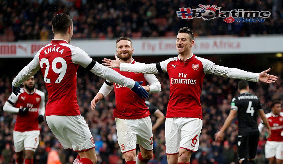ARSENAL menamatkan kemarau kemenangan sepanjang lima perlawanan dengan membelasah Crystal Palace 4-1 di Stadium Emirates. Foto AFP